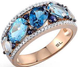 Золотое кольцо с топазами и сапфирами