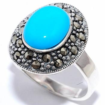 Кольцо с бирюзой и марказитами